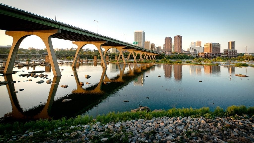 Sunset at the Manchester Bridge by Bill Dickinson (James River in Richmond)