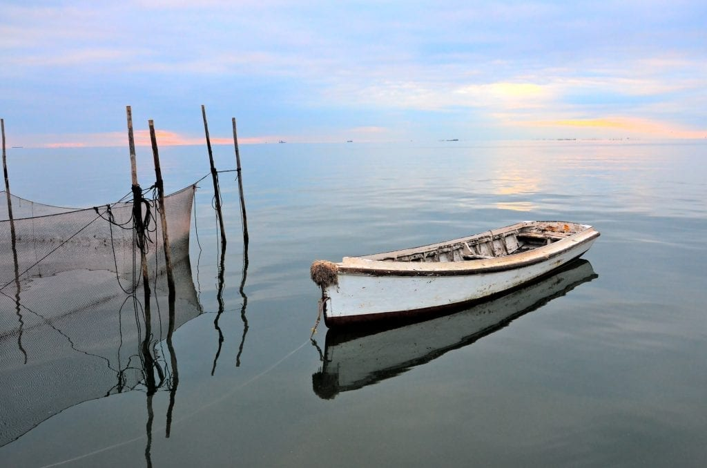 Lone Skiff on the Bay by Laura Dent (Chesapeake Bay)