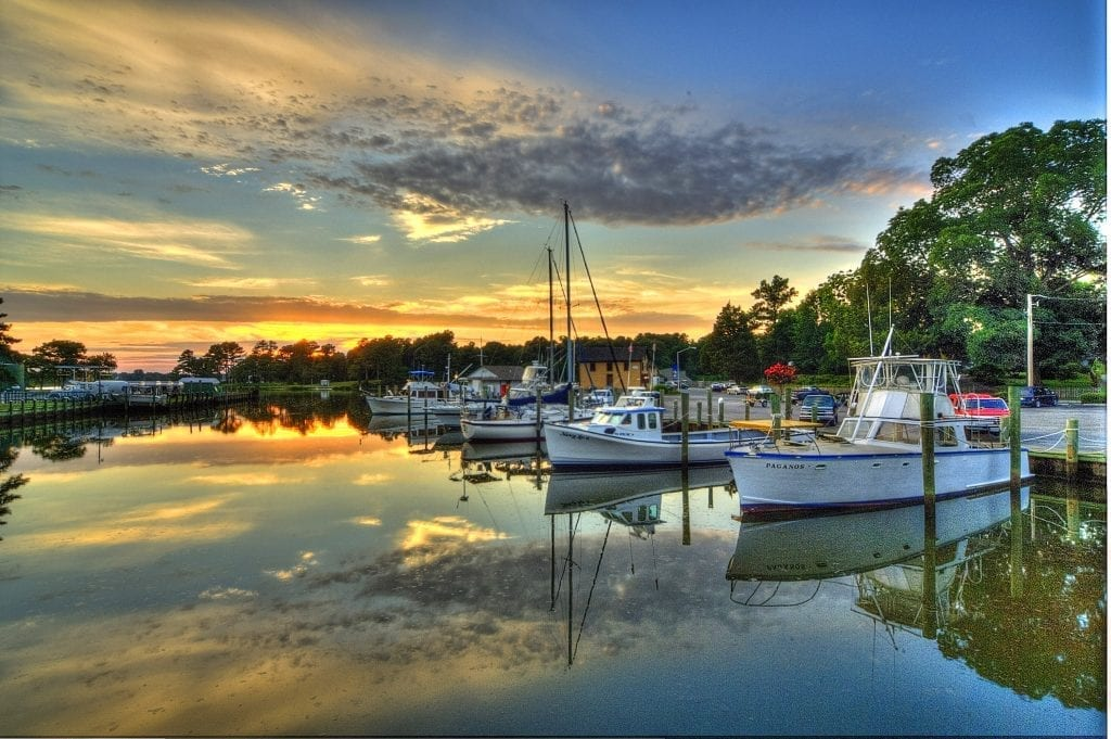 Onancock Wharf Sunset by Ron Hugo (Onancock on the Eastern Shore)