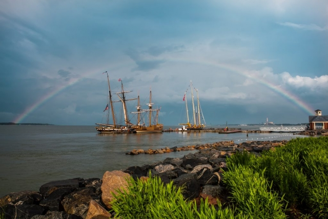 Rainbow over the York by Robert Hunter (Yorktown Waterfront)