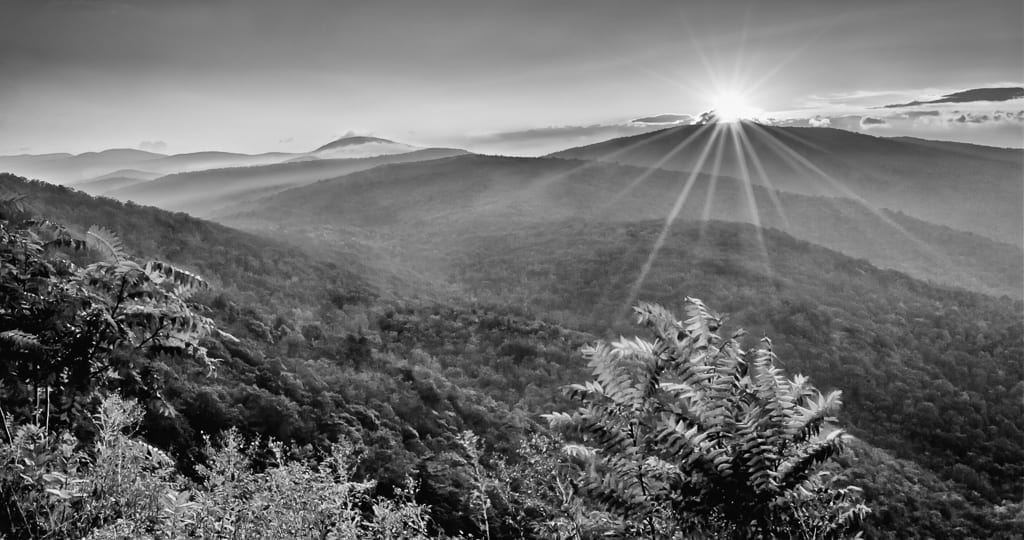 Sunrise in Black and White by Deborah Kozura (Ivy Creek Overlook, Shenandoah National Park)
