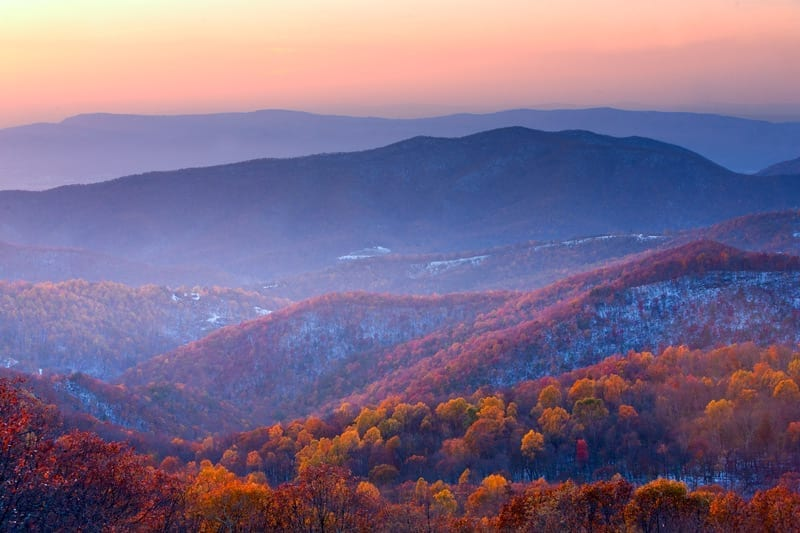 When the Seasons Meet by Edward Fuhr (The Point Overlook in Shenandoah National Park)