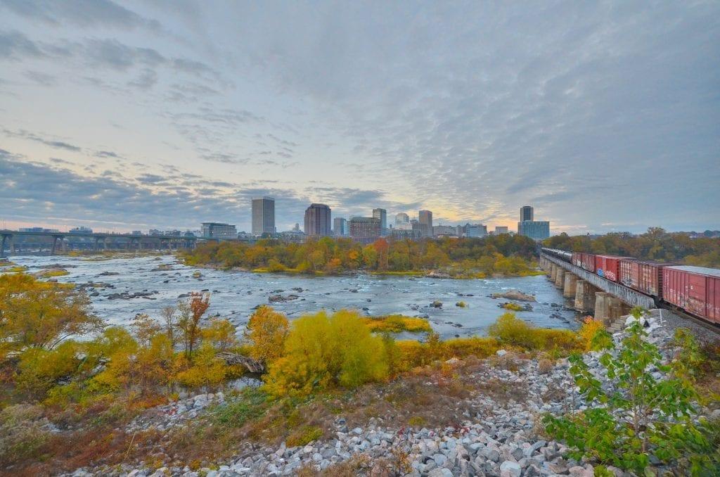 Cities & Towns Winner: River City Sunrise by Scott Adams (The Manchester Floodwall in Richmond)