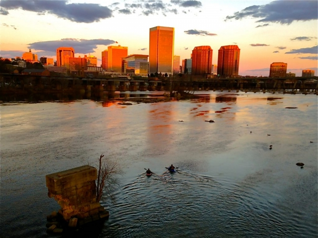 Cities & Towns Winner: December Sunset on Richmond by Tricia Pearsall (James River in Richmond)