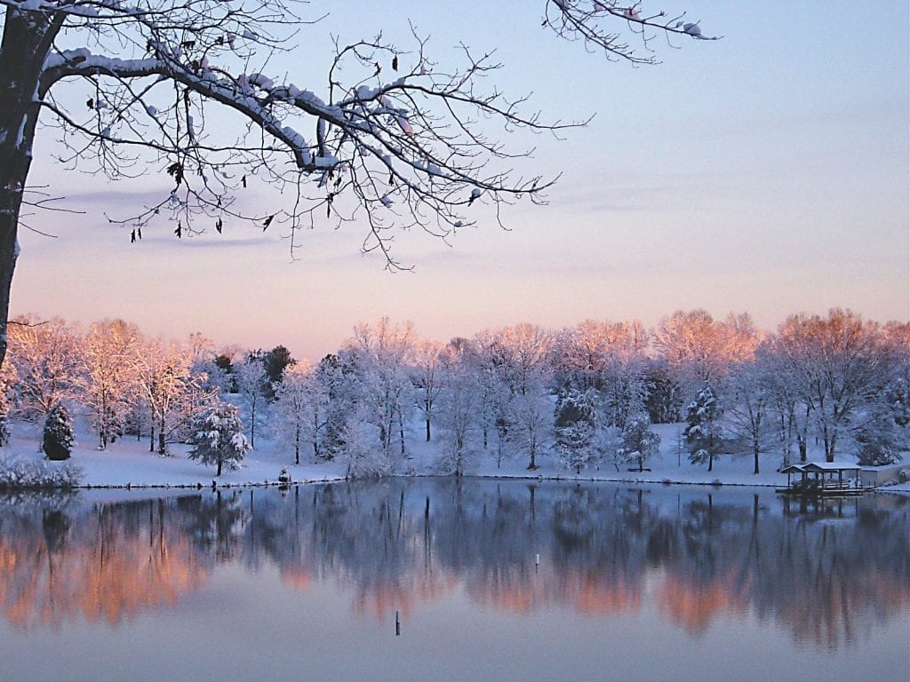 Snowy Morning, Smith Mountain Lake by Patty Love