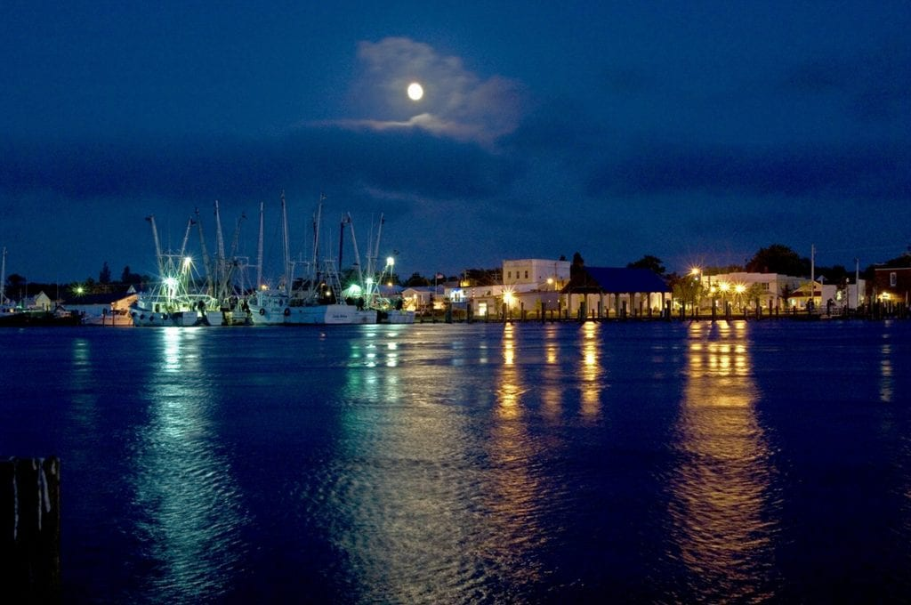 """Cities & Towns Winner: """"Moonrise Over Chincoteague Harbor"""" (Chincoteague Island) by Ron Hugo of Lee Mont"""