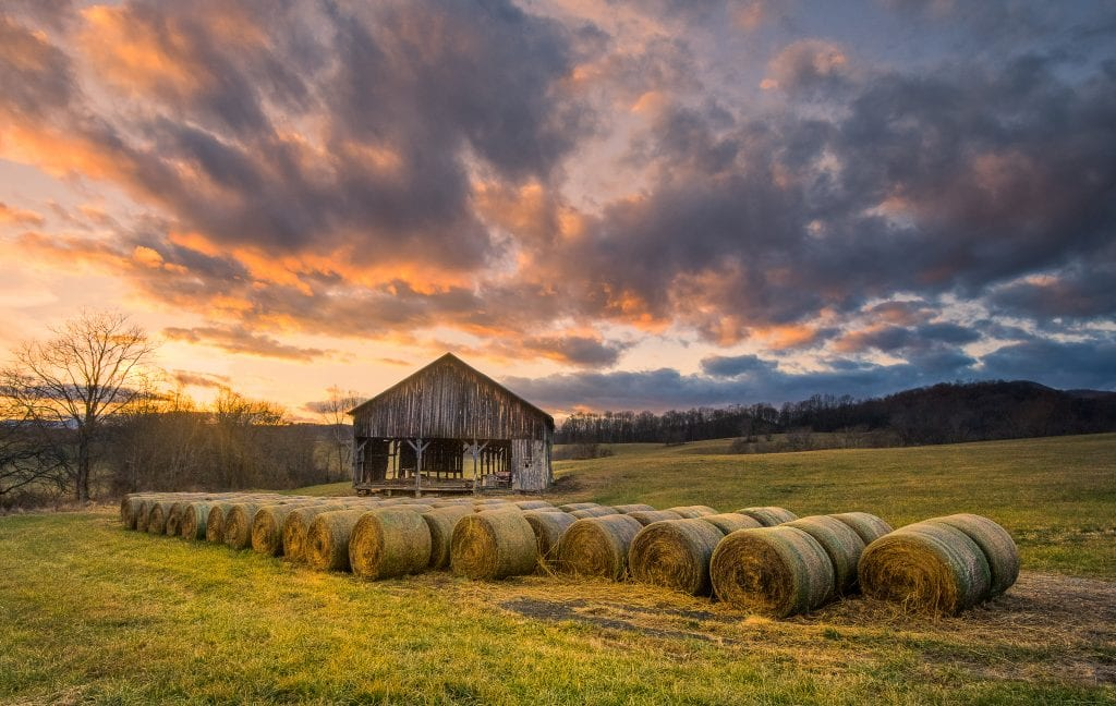 "Farms & Open Spaces Category Winner: ""Old Barn Sunset"" (Route 522 in Rappahannock County) by Robert Golub of Culpeper"