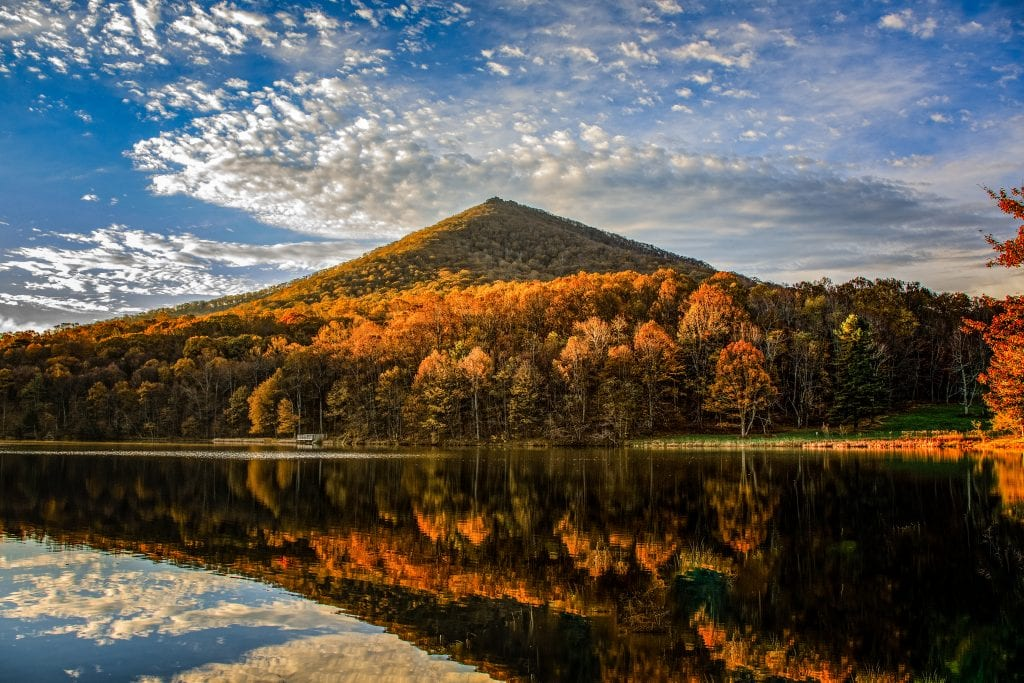 "Mountains & Valleys Category Winner: ""Sunrise on Sharp Top Mountain"" (Peaks of Otter along the Blue Ridge Parkway in Bedford County) by Harold Burnley of Kilmarnock"