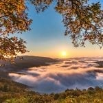 "Mountains & Valleys Category Honorable Mention: ""Sunrise over Fog in the Shenandoah"" (Ivy Creek Overlook in Free Union) by Thomas Hennessy of Mechanicsville"